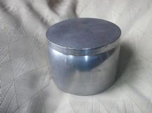 VINTAGE SOLID HEAVY PEWTER ? ALUMINIUM ? POT & LID DA 1L COIN BVONO WOOD LINED